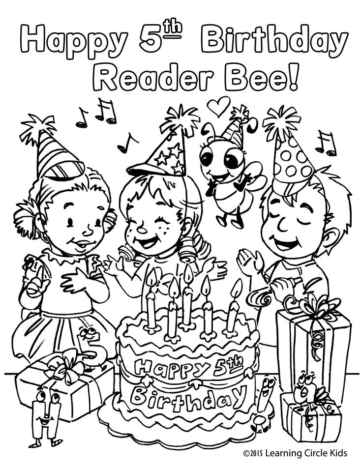 happy birthday coloring page for 5 year olds httpreaderbeecom - Learning Pages For 5 Year Olds