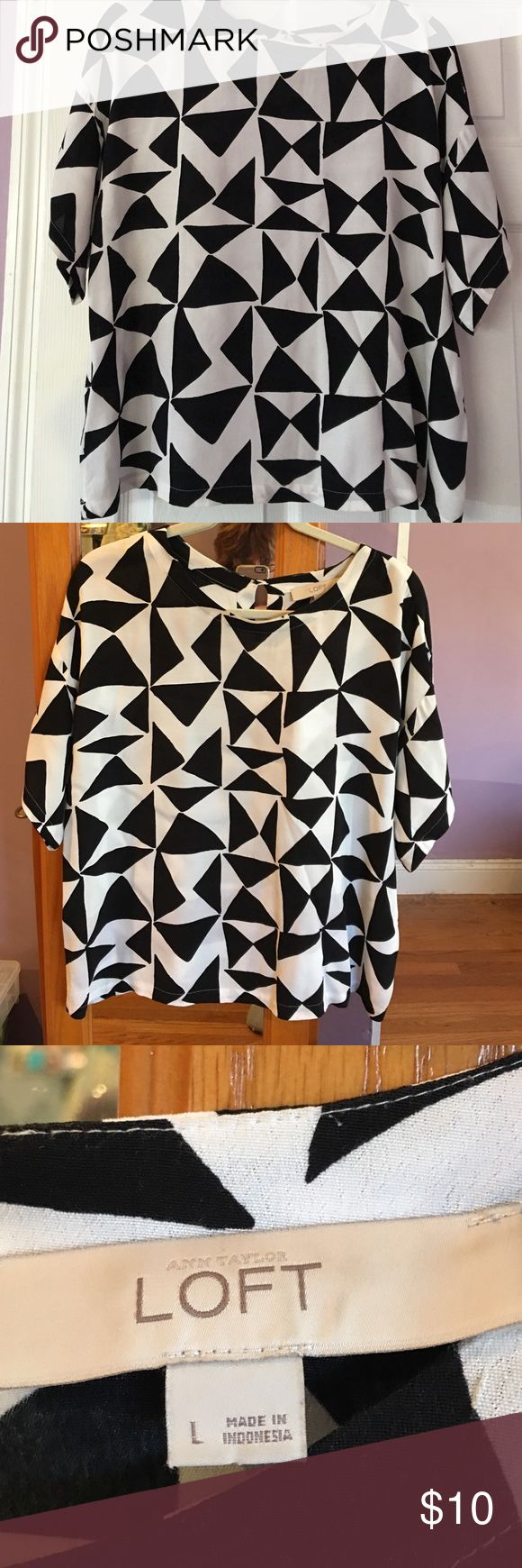 Loft Brand top. Short sleeve in black and white Loft top Size Large  short sleeves. Very nice black and white pattern. 100% Rayon  machine wash cold. I used either delicate cycle or dry cleaned. Very good condition LOFT Tops Blouses