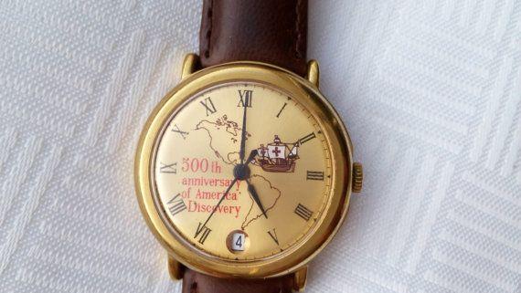 Raketa, America discovery, rare watch, soviet watch, mechanic watch,