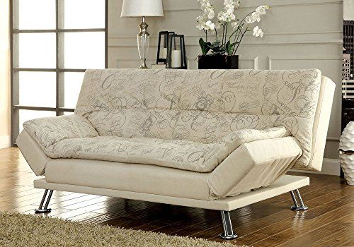 1PerfectChoice Hauser Sofa Bed Futon Sleeper Foldable Side Arms Beige Fabric w World Traveler