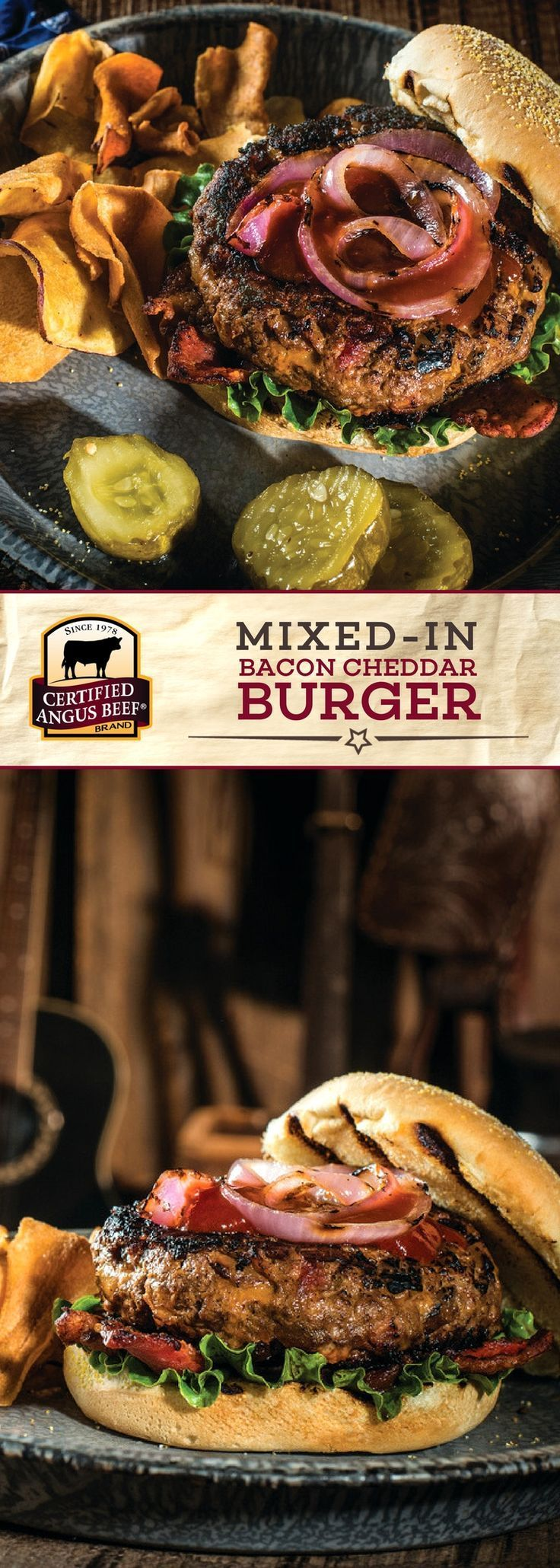 Certified Angus Beef®️️️️️️️️ brand Mixed-in Bacon Cheddar Burger uses the best ground beef for a FLAVORFUL burger! This DELICIOUS recipe is made with a BOLD sauce mix, including barbecue sauce, Worcestershire, and ancho chili powder. Mixing the onions and cheddar right into the beef really makes this burger stand out!  #bestangusbeef #certifiedangusbeef #beefrecipe #easyrecipes #burgertime