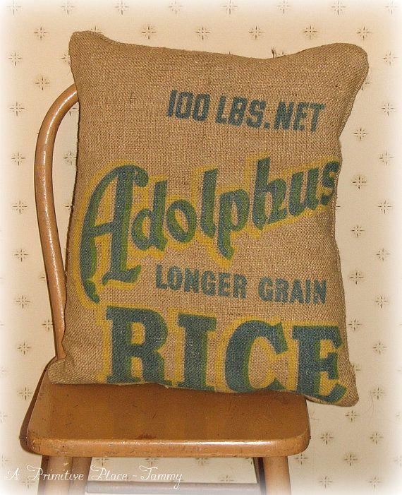 Large Pillow  Vintage Burlap Feed Sack  by aprimitiveplace on Etsy, $20.00