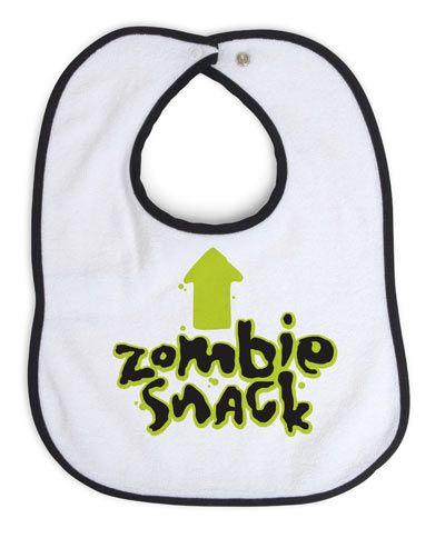 Een heerlijk bizar babyslabbertje, Zombie Snack. Dit slabbertje is voor nog geen 10 dollar te koop bij diverse online winkels zoals Think Geek.