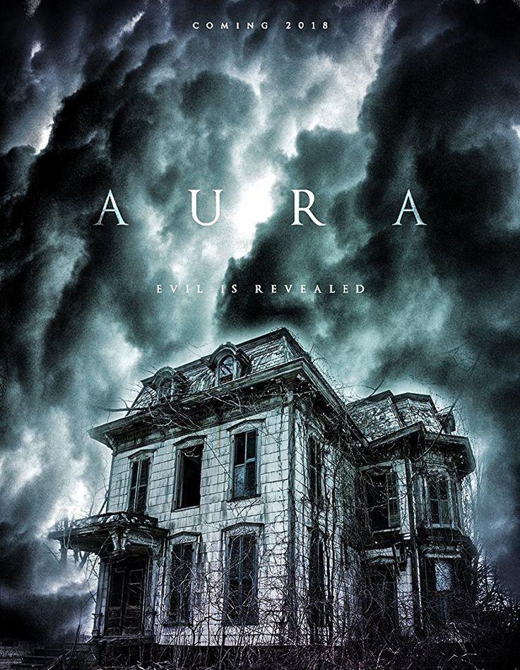 primer cartel promocional de película de terror inglesa Aura, protagonizada por Shane Taylor (El Dia de los Trífidos), Janine Nerissa y Rula Lenska (Queen Kong).