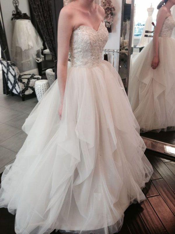 Elegant Wedding Dress,A-Line Wedding Dress,Sweetheart Tiered Wedding Dress,Long