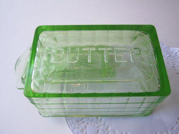 Vintage Green Depression Glass Butter Dish by jenscloset on Etsy