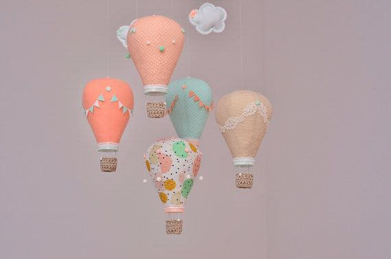 Hot air balloon baby mobile Mint Peach Beige White  Handmade Nursery Decor Travel Theme Custom mobile Choose Your Colors