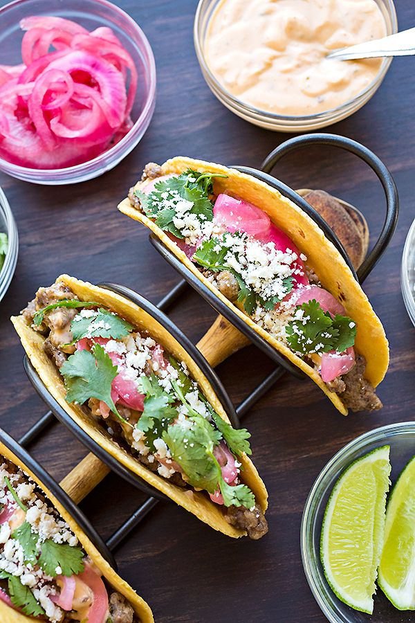 Beef Street Tacos | thecozyapron.com (sirloin, lime, red onions, corn tortillas, cilantro, cotija)