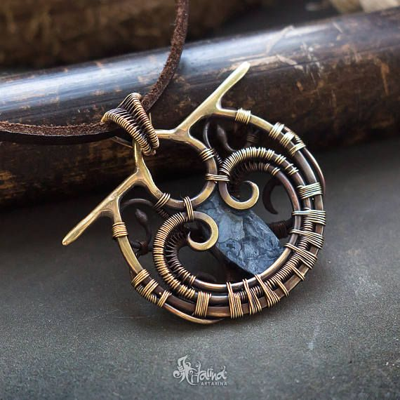 Wire wrapped necklace // Wire wrapped pendant // Pietersite
