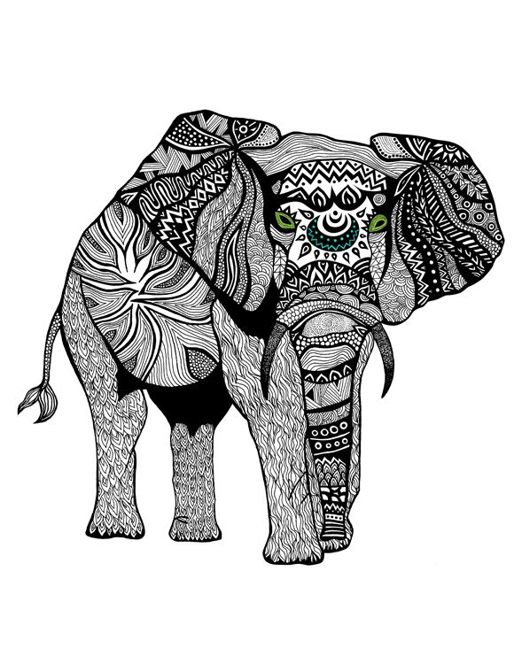 Black white illustrations pom graphic design elephant tribalelephant illustration abstract