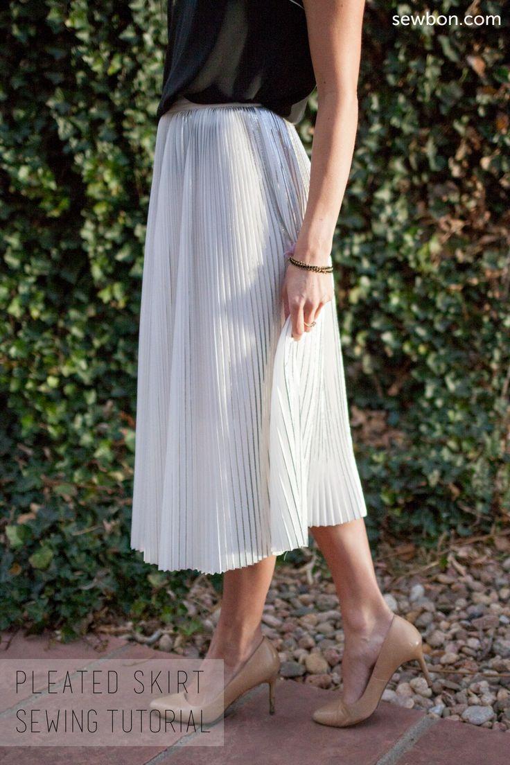 Pleated Fabric Skirt Sewing Tutorial DIY at Sewbon.com