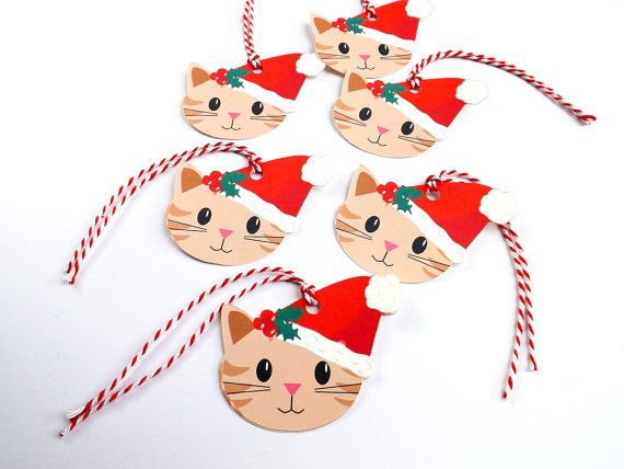Christmas Gift Tags Set of 6 Cat Tags Cat Gift by ContoursAlbion