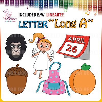 phonics beginning sound letter long A clip art