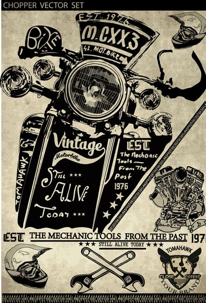 motorcycle retro posters creative