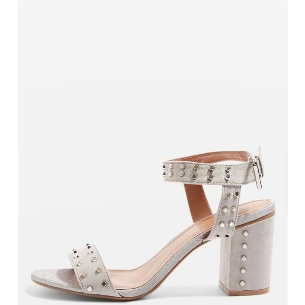 Topshop Morocco Studded Heeled Sandals (£32) ❤ liked on Polyvore featuring shoes, sandals, grey, strappy heeled sandals, gray sandals, gray strappy sandals, strap heel sandals and strappy sandals