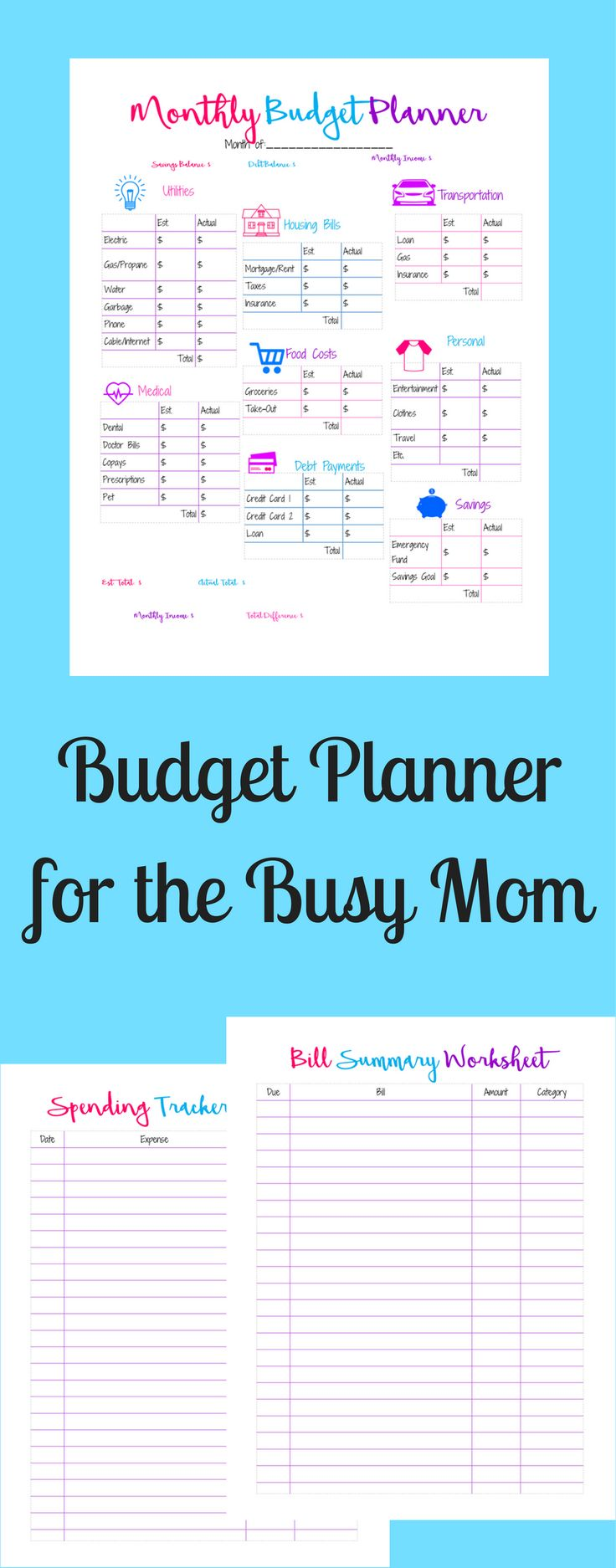 Free budgeting printables. Are you too busy to track your finances? Are you struggling to stay on budget? Free easy to use printables!