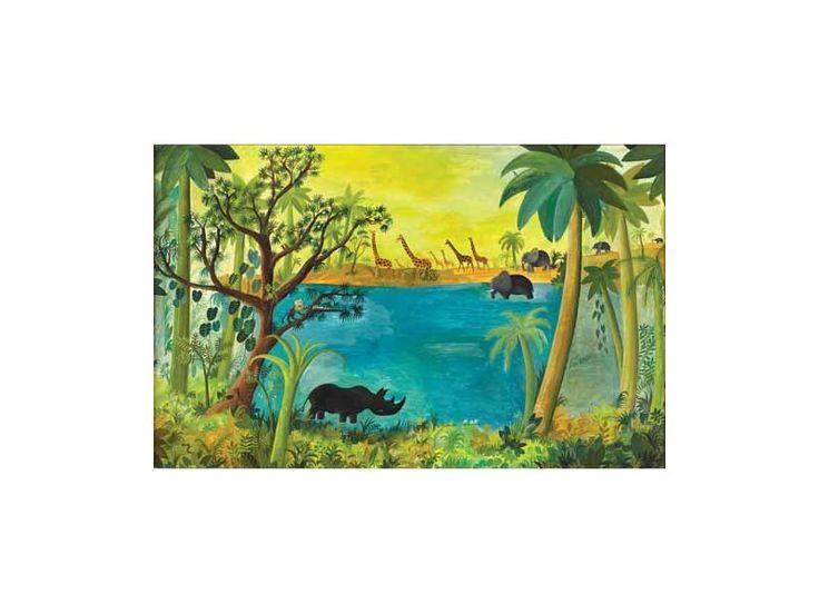 Hans Scherfig - Urskovs billede med næsehorn, giraffer og elefanter ved en sø.