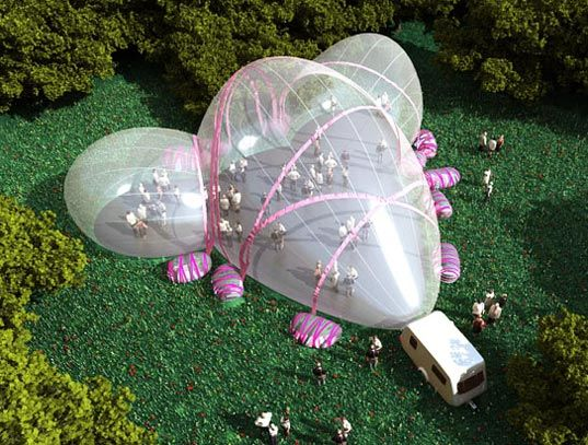 German Architecture firm Raumlabor-Berlin has created an incredible inflatable pavilion that will be popping up in parks throughout London this summer as a mobile event space. Dubbed Portavilion, the futuristic-looking bubble building sets up in a snap and can be easily deflated and packed up after each event, saving on the manpower and resources required to erect a standard stage.