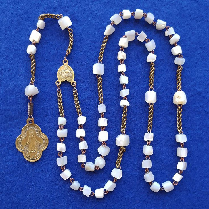 Antique Italian Brass & Mother of Pearl Catholic Jesuit Rosary – Pope Leo XIII – Lamb of God Center