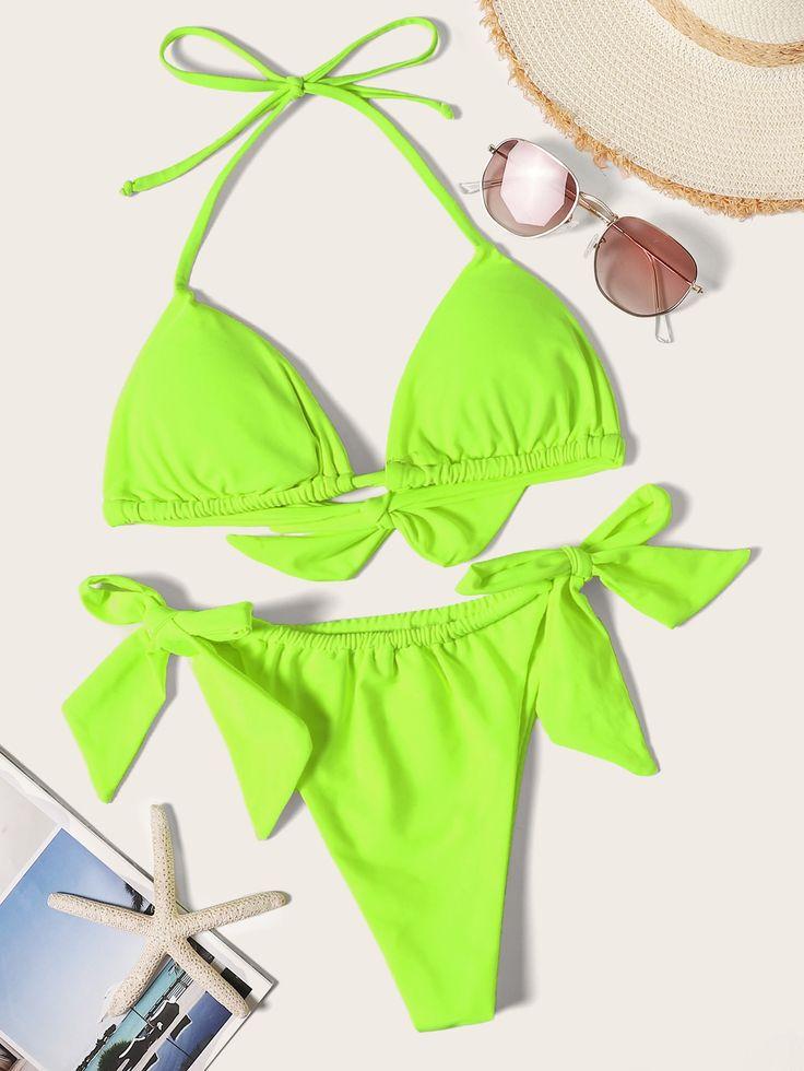 Neon Lime Triangle Top mit seitlichem Bindebikini Set #Ad, #SPONSORED, # Triangle # Top # …