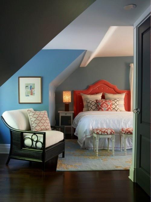 : Contemporary Bedrooms, Idea, Attic Bedrooms, Color Combos, Blue Wall, Master Bedrooms, Attic Rooms, Guest Rooms, Bedrooms Color