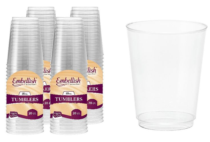 Clear Plastic Party Tumblers Set Disposable Drinking Serving Cups 10oz 80 Count #ClearPlasticTumblers
