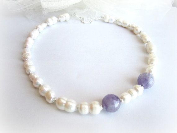 Freshwater pearls beaded necklace amethyst by MalinaCapricciosa