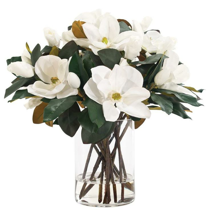 Natural Decorations Inc Magnolia White Glass Cylinder
