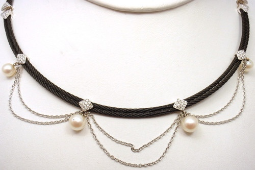 $2,450.00 PHILIPPE CHARRIOL 18k WHITE GOLD BLACK STEEL DIAMOND AND PEARL NECKLACE | eBay