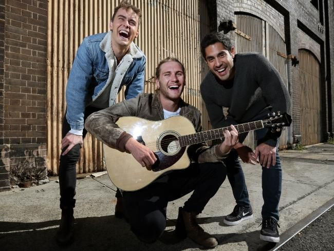 """Home and Away"" actors Alec Snow, George Mason and Tai Hara rehearse at Technology Park in Redfern. Picture"