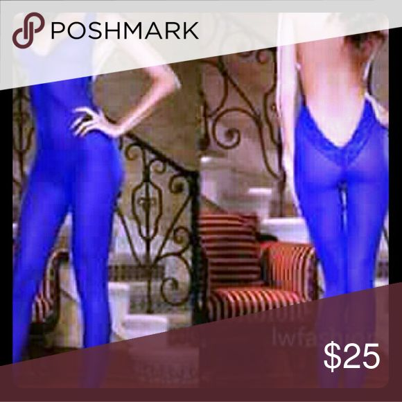 Cobalt Blue backless body stocking Unopened, lace detail, fabulously bright blue! Intimates & Sleepwear