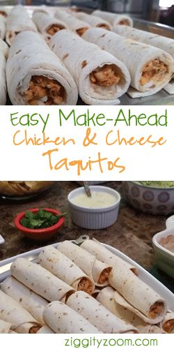 Easy Make-Ahead Chicken Taquitos- Kid Approved -  Fast, Delicious Baked Roll Up that are perfect for your family or a girls night.  Serve with other Mexican Favorites
