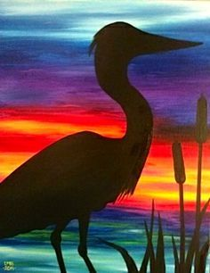 A BIRD IN PARADISE, lovely glowing colorful sunset, beginner painting idea and fun mix of colors.