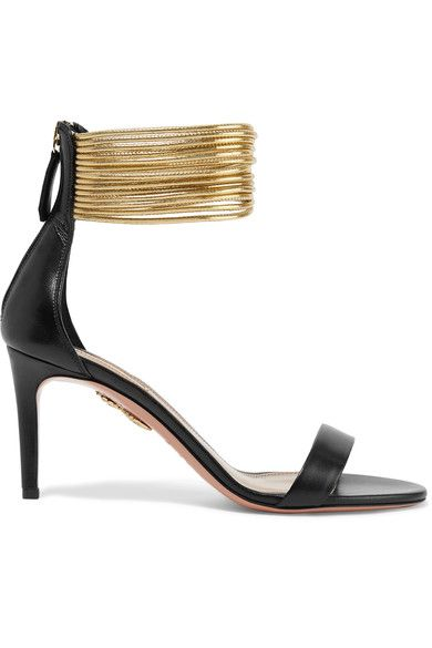 Aquazurra spin me around gold ankle Black and gold leather  Zip fastening along back Made in Italy