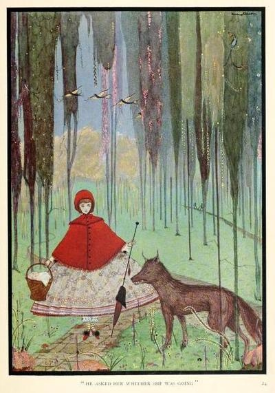 """The fairy tales of Charles Perrault (1922)Illustrations by Harry ClarkeLittle Red Riding Hood""""He asked her whither she was going"""""""