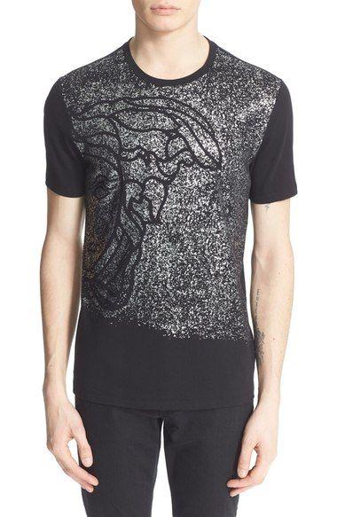 VERSACE 'Medusa' Metallic Spray Graphic T-Shirt. #versace #cloth #