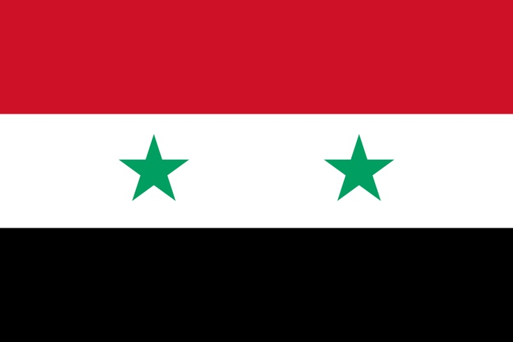 National flag of Syria from http://www.flagsinformation.com/syrian-country-flag.html  Three equal horizontal bands of red (top), white, and black, colors associated with the Arab Liberation flag; two small, green, five-pointed stars in a horizontal line centered in the white band; former flag of the United Arab Republic where the two stars represented the constituent states of Syria and Egypt; similar to the flag of Yemen, which has a plain white band.