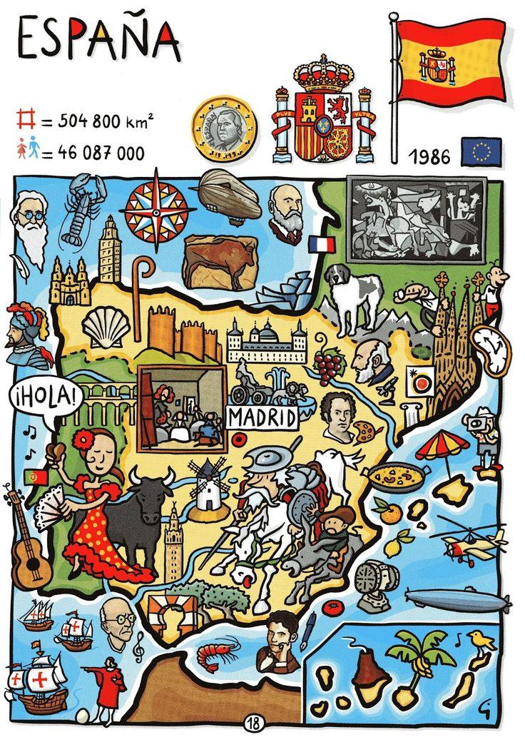 J'ai découvert cette petite carte d'Espagne qui en illustre les symboles les plus représentatifs. La première est en couleurs et les deux au...