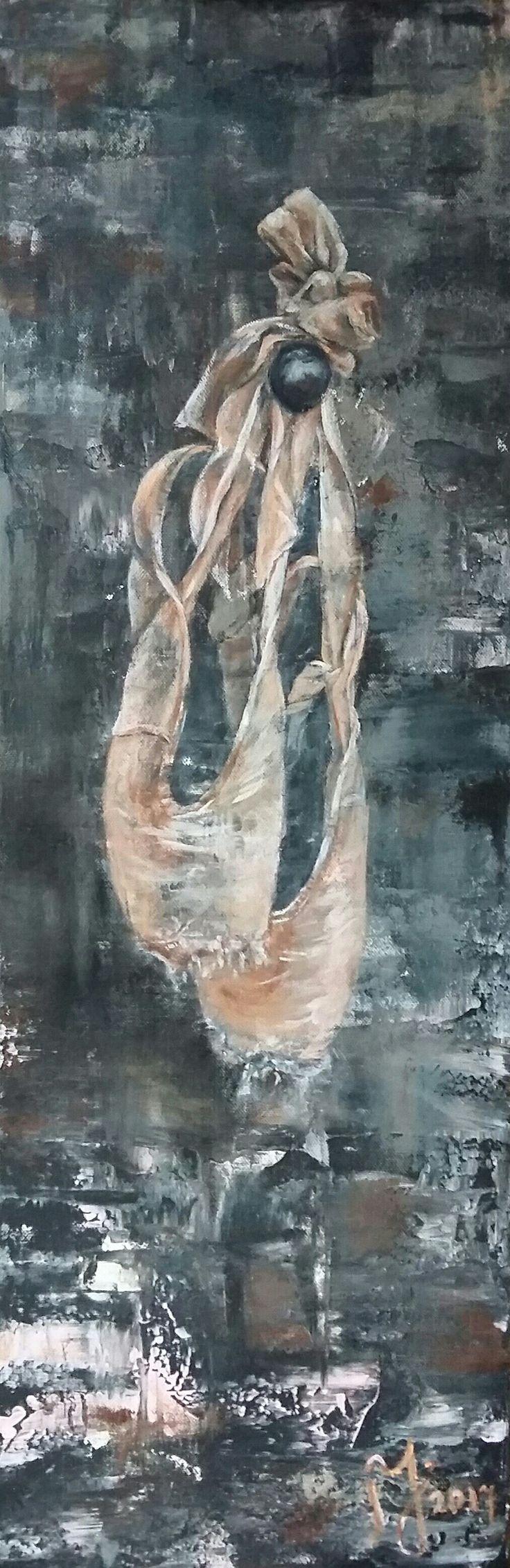 Marian de Jong Arcrylic Art Ballet shoes 30x90 Acryl-Schilderij-Kunst-Ballet