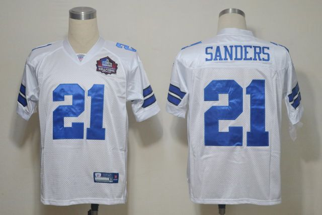 Dallas Cowboys 21 Deion Sanders White 2012 NFL Pro Football Hall of Fame Authentic Throwback Jerseys:$21