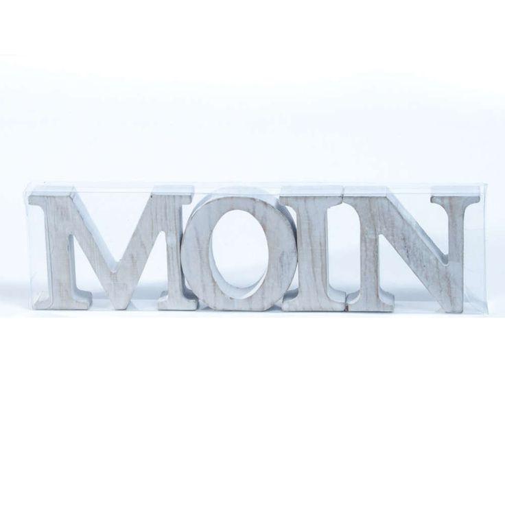 Moin HOLZBUCHSTABEN 8cm weiß >>