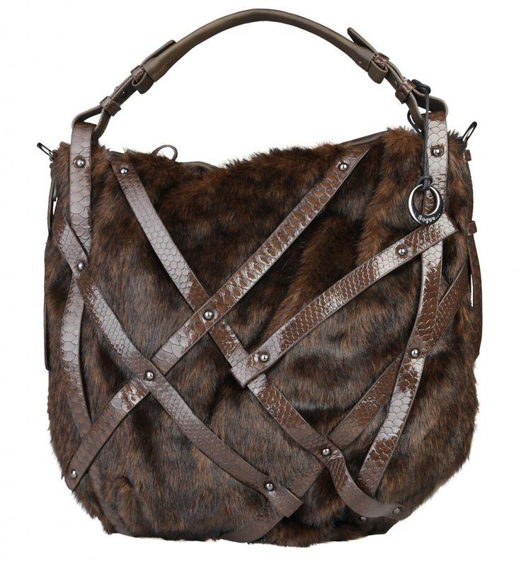 Dámská kabelka Segue přes rameno, s kožešinkou - hnědá | obujsi.cz - dámská, pánská, dětská obuv a boty online, kabelky, módní doplňky