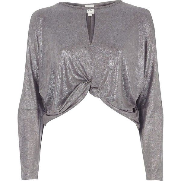 River Island Silver metallic twist front batwing top ($56) ❤ liked on Polyvore featuring tops, blouses, silver, women, keyhole top, river island tops, batwing sleeve tops, river island and tall tops
