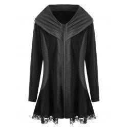 Plus Size Lace Hem Zip Up Coat - Black 4xl Solid Casual