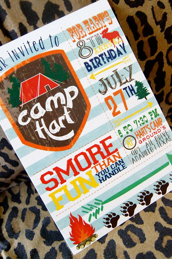 Camping Outdoor Theme Birthday Party Invitation