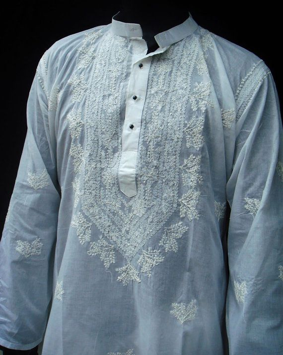 Mens White Dress Long kurta shirt Indian Shalwar kameez handmade embroidery Snowwhite Tunic Top Valentines Day gifts Plus size clothing on Etsy, $39.99