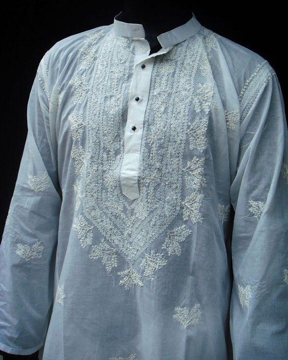 Mens White Dress Long kurta shirt Indian Shalwar kameez handmade embroidery Snowwhite Tunic Top Valentines Day gifts Plus size clothing on Etsy, $39.99
