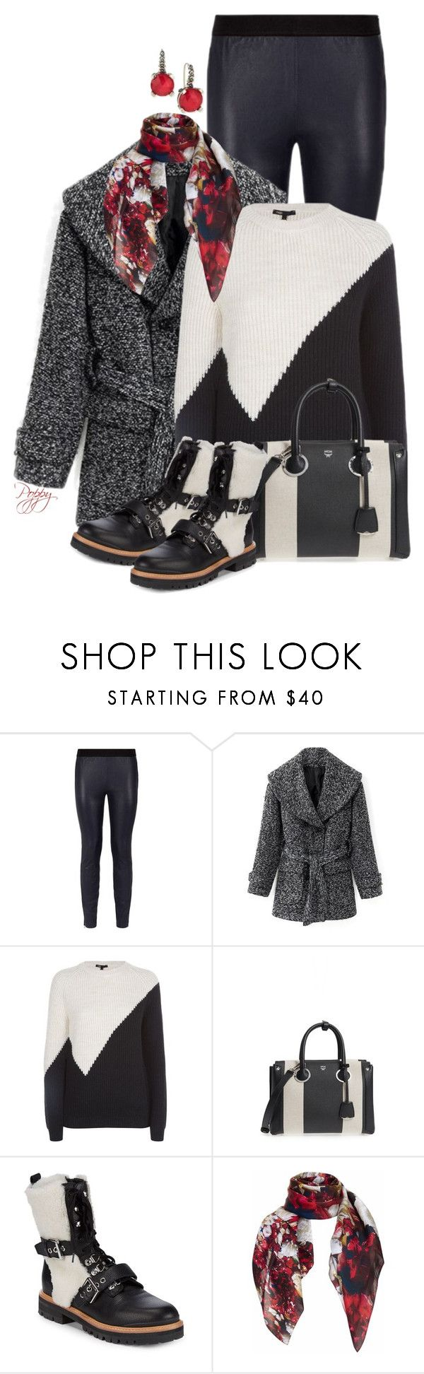 """""""Color Block Bag & Boots"""" by bainbridgegal ❤ liked on Polyvore featuring Reiss, Maje, MCM, Rebecca Minkoff, Pam Weinstock London and Stephen Dweck"""