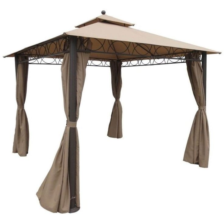 Outdoor #Gazebo #Canopy Patio 10x10 Tent Shade Shelter Pavilion Curtains 2 Tier UV #Caravan