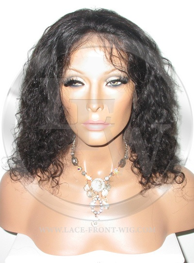 Curly Full Lace Front Wig Color 1b - 12 Inch